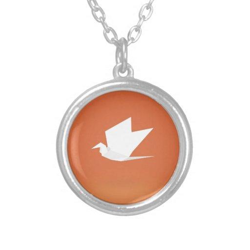 Origami Crane Bird orange Color Graphic Design Necklace