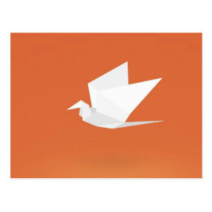 Origami Crane Bird Orange Color Graphic Design Postcard