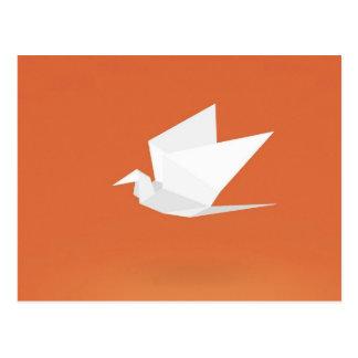 Origami Crane Bird orange Color Graphic Design Postcard