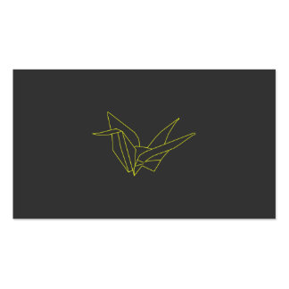 Origami Crane in Neon Yellow on Gray Double-Sided Standard Business Cards (Pack Of 100)
