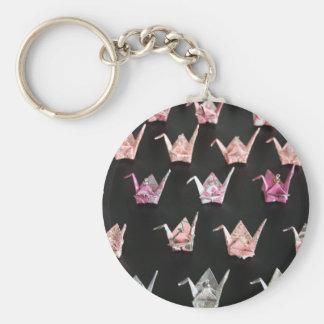 Origami Crane Ornaments Basic Round Button Keychain