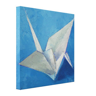 Origami Crane Painting Canvas Print