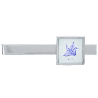 Origami Crane Paper Craft Silver Finish Tie Clip