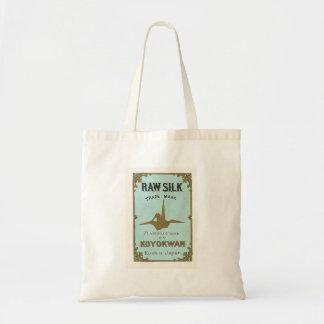 Origami Crane Vintage Japanese Silk Label Tote Bag