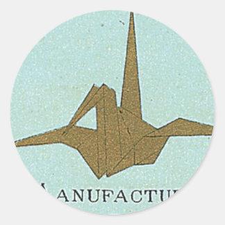 Origami Crane Vintage Japanese Silk Label Round Stickers