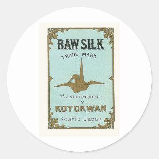 Origami Crane Vintage Japanese Silk Label Round Sticker