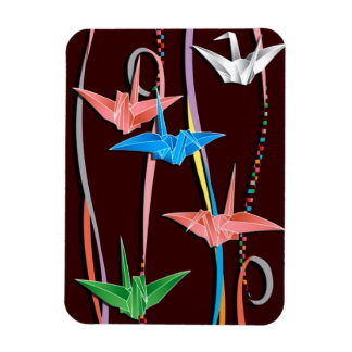 Origami cranes rectangle magnets