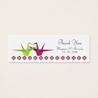 Origami Cranes (Purple / Lime) Wedding Favor Tags Mini Business Card
