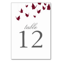 Origami Cranes Table Number Card