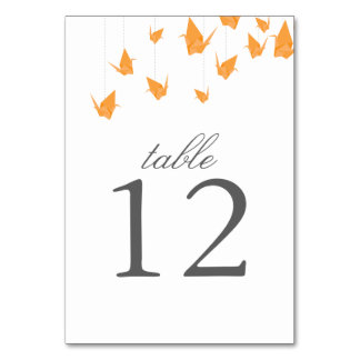 Origami Cranes Table Number Card Table Card