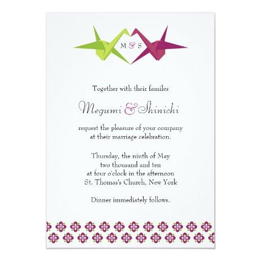 "Origami Cranes Wedding 5"" X 7"" Invitation Card"