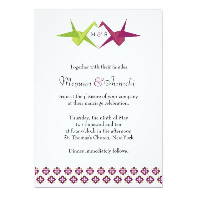 origami cranes wedding card