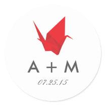 Origami Cranes Wedding Monogram Classic Round Sticker