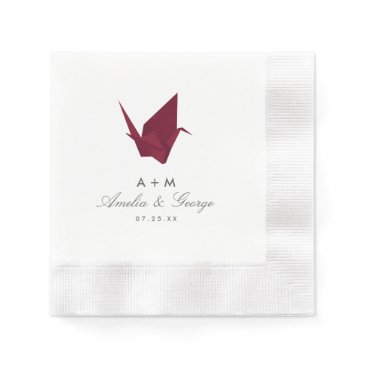 Beach Themed Origami Cranes Wedding Paper Napkin