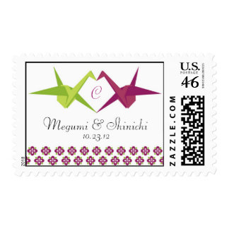 Origami Cranes Wedding Stamp