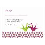 Origami Cranes Wedding RSVP Postcard
