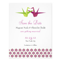 Origami Cranes Wedding Save the Date Personalized Invitations