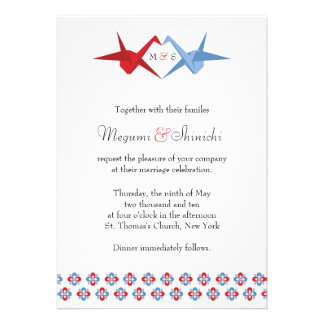 Origami Cranes Wedding (Scarlet + C Blue) Personalized Announcements
