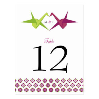 Origami Cranes Wedding Table Number Post Cards