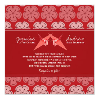Origami Double Paper Cranes Sakura Wedding Invite