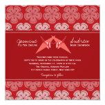 Origami Double Paper Cranes Sakura Wedding Invite Custom Announcements