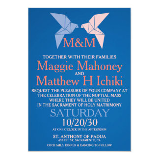 Origami Doves Catholic Wedding Invitations