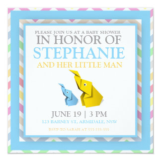 Origami elephant baby boy shower invites