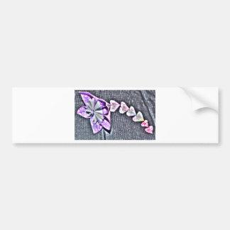 ORIGAMI FLOWER & HEARTS JAPANESE PAPER ART BUMPER STICKER