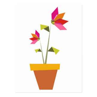 origami flowers in a pot postcard