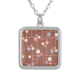 Origami Flowers & Lines Silver Plated Necklace