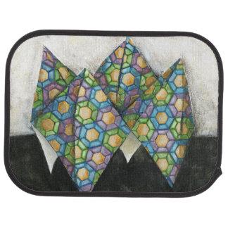 Origami Fortune Teller on Geometric Paper Car Mat