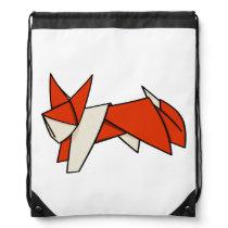 Origami Fox Drawstring Bag
