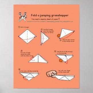 Origami Grasshopper How-To Semi-Gloss Poster
