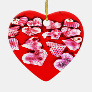 ORIGAMI HEART JAPANESE PAPER ART Double-Sided HEART CERAMIC CHRISTMAS ORNAMENT