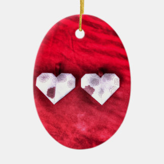 ORIGAMI HEARTS JAPANESE PAPER ART Double-Sided OVAL CERAMIC CHRISTMAS ORNAMENT