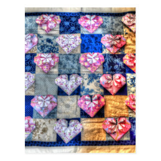 ORIGAMI HEARTS & PATCHWORK QUILT POSTCARD