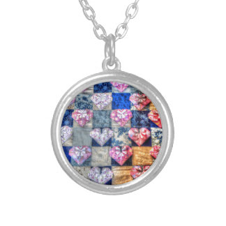 ORIGAMI HEARTS & PATCHWORK QUILT ROUND PENDANT NECKLACE