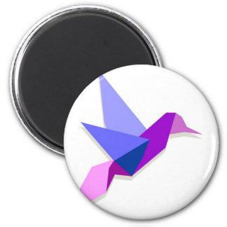 Origami hummingbird 2 inch round magnet