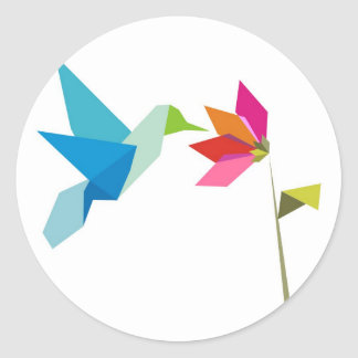 Origami hummingbird and flower classic round sticker