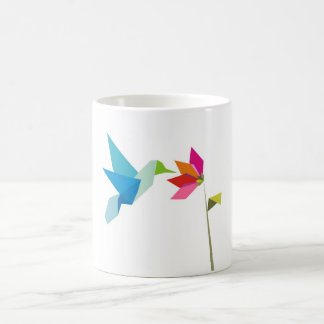 Origami hummingbird and flower coffee mug