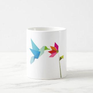 Origami hummingbird and flower coffee mug