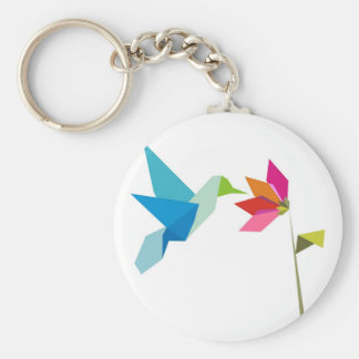 Origami hummingbird and flower basic round button keychain