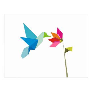 Origami hummingbird and flower postcard
