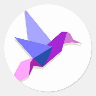 Origami hummingbird classic round sticker