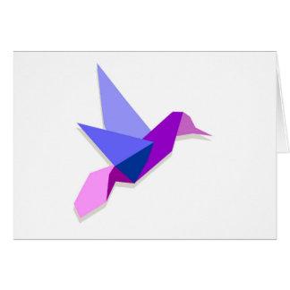 Origami hummingbird greeting card