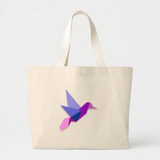 Origami hummingbird large tote bag