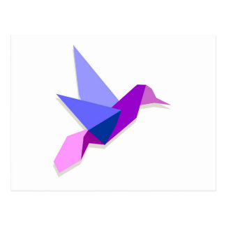 Origami hummingbird postcard