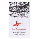 Origami Japanese Red Paper Cranes Silhouette Tree Business Card Templates