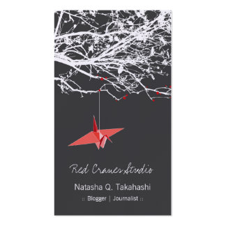 Origami Japanese Red Paper Cranes Silhouette Tree Double-Sided Standard Business Cards (Pack Of 100)