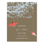 Origami Oriental Paper Cranes Branch Save The Date Postcard